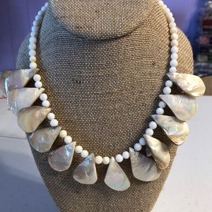 White Teardrop Shell Bead Necklace.